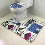 3Pcs/set Bathroom Non-Slip Eiffel Tower Toilet Seat Cover Set