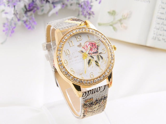 The rose series PINBO women luxury brand quartz colock watch fashion leisure leather  wristwatches reloj mujer gift dress