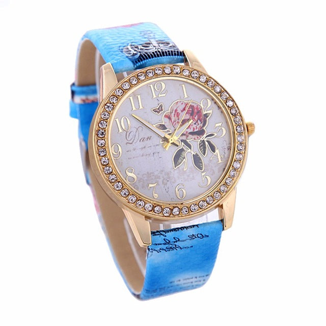 Women's Rose Series Luxury Studded Quartz Watch