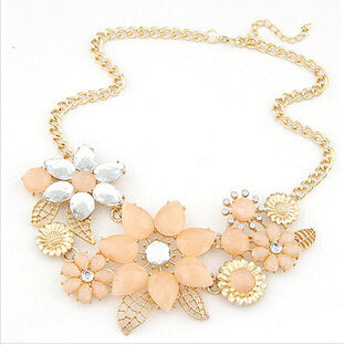 Ahmed Jewelry Fashion Gem Flower Necklace Choker Necklaces Statement New For Woman