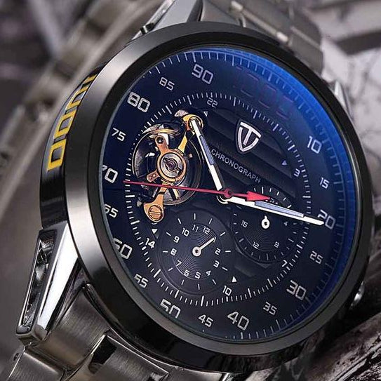 Men's Automatic Winding Tourbillon Mechanical Stainless Steel Luxury Watch