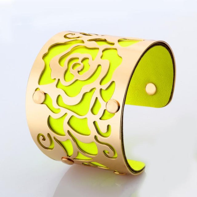 Gold-color Cuff  Bracelets H Love The Rose Flowers Bangles For Women Femme Jewelry Wide leather Bracelet Bangles S0001