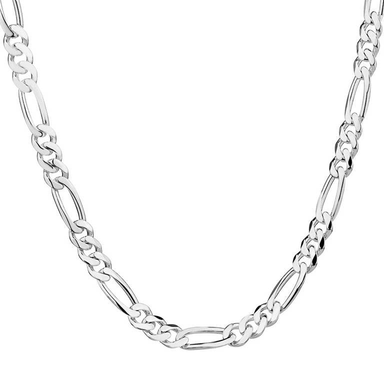 Men's Silver Fashion Figaro Chain Necklace