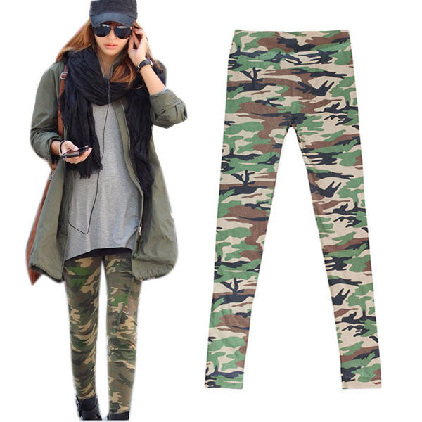 Newest Women Camouflage Army Print Stretch Cool Pants Skinny Leggings Trousers