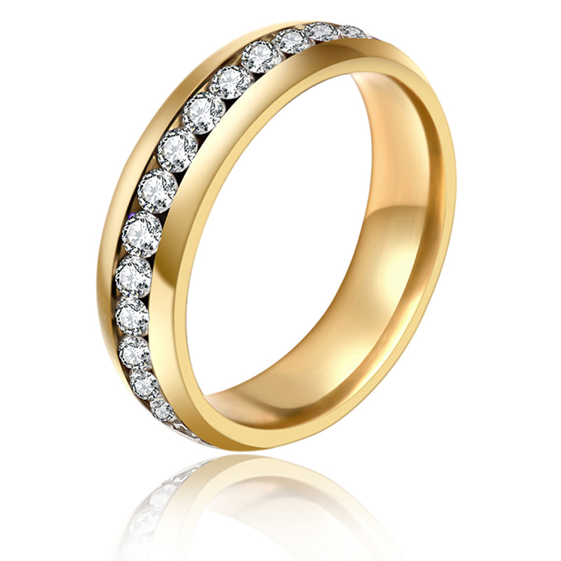 Unisex Stainless Steel Gold with Crystal Ring