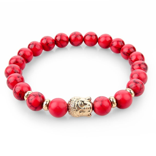 CHICVIE Natural Stone Bead Buddha Bracelets for Women Men Silver Black Lava Love Jewelry With Stones Femme Meditation Bracelet