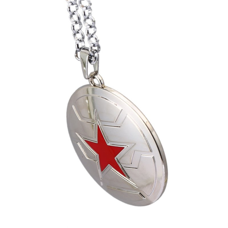 New Design The Avengers Movie Captain America Winter Soldier Necklace Silver Shield Pendant Necklace For Women Men Feminino
