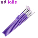 Purple Nail Art Design Brush Manicure For Painting Dotting Tool Brushes Pen Set 7PCS
