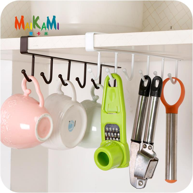 Hanging Cupboard Shelf Kitchen Storage Rack with Hooks