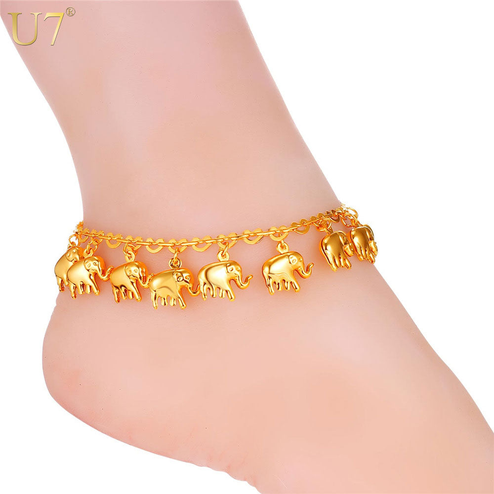 U7 Little Elephant Anklet For Women Gift Silver/Gold Color Cute Animal Summer Jewelry Foot Anklet A319