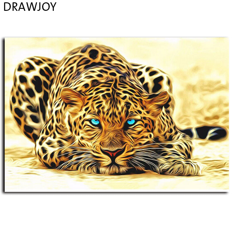 Frameless Pictures DIY Leopard Animals Oil Painting