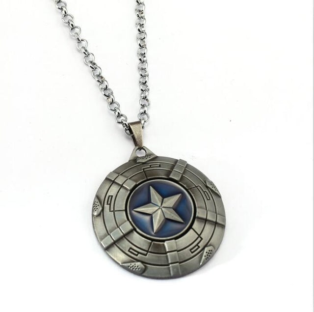 HSIC The Avengers Rotatable Captain America Necklace Pendant Fashion Captain America Shield Metal Alloy Friendship Necklace HC11