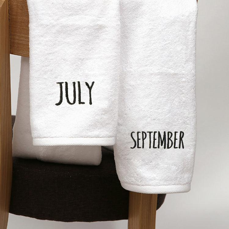 Embroidered Name of the Month 100% Cotton Bathroom Towels