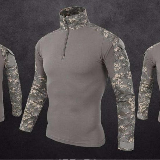 Men's Tactical Quarter Zip Long Sleeve Combat Shirt