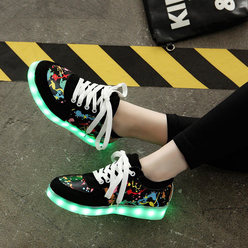 Ukrain glowing sneakers usb charging basket led kid shoes with light up luminous sneakers shoes for girls&boys LED slippers