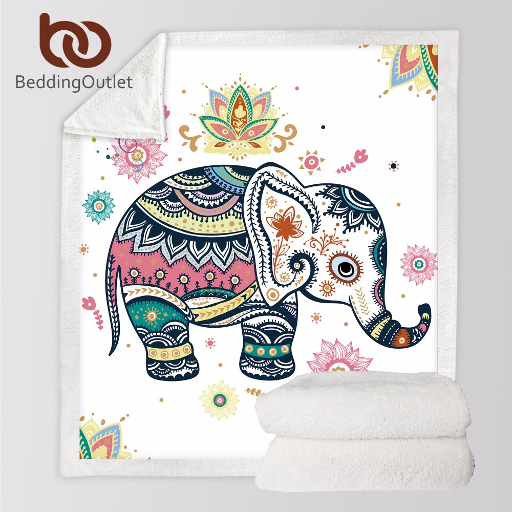 Rainbow Elephant Cozy Velvet Plush Throw Blanket