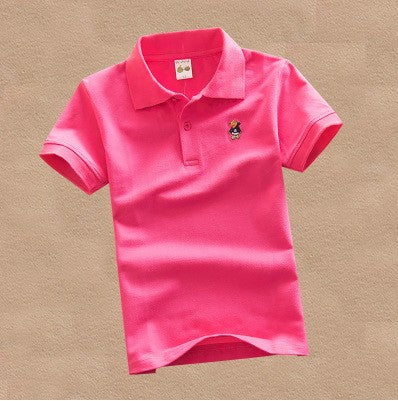 new fashion boys t shirts for kids summer children clothes solid color cotton short sleeve boys girls polo shirt DQ299