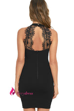 Berydress Elegant Womens Mini Dress Sexy Halter Neck Sleeveless Alluring Back Nightclub Black Lace Bodycon Dresses