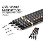 4 Piece: Multi-Function Calligraphy Drawing Sketch Pens