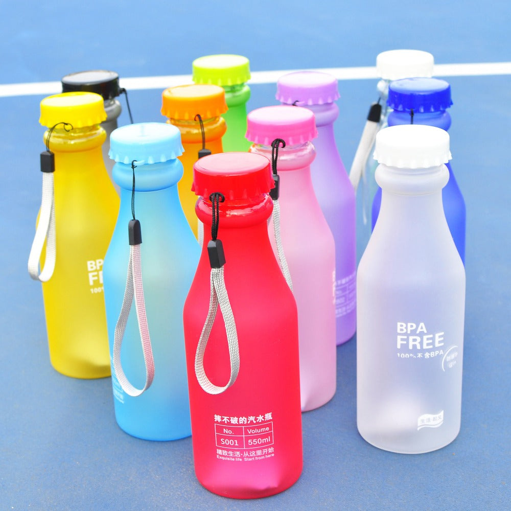 Water Bottle Candy Color Portable Leak-proof Sport Plastic Lemon Juice Bike Outdoor Traveling Climbing Camp Bottle Container