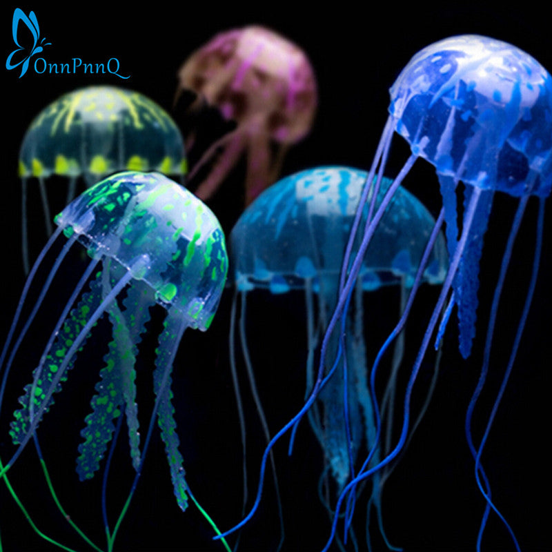 "5.5"" Glowing Effect Artificial Jellyfish Fish Tank Aquarium Decoration Ornament"