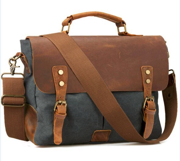 Vintage Leather + Canvas men briefcase Business bag Portfolio men office bag male canvas briefcase attache case document tote