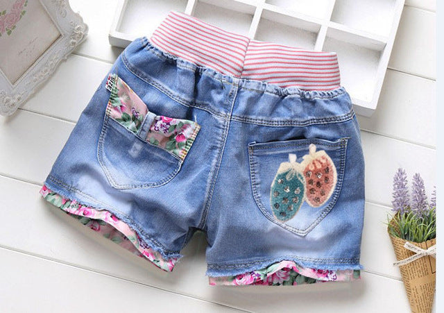 summer fashion children denim shorts 100% cotton diamond sand short shorts for girls kids casual jeans shorts 4-12years