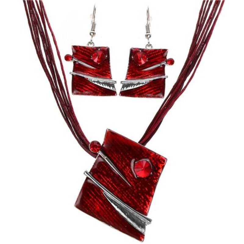 ZOSHI Fashion Jewelry Set Multilayer Leather Chain Square Pendant Necklaces Drop Earrings Jewelry Sets Women