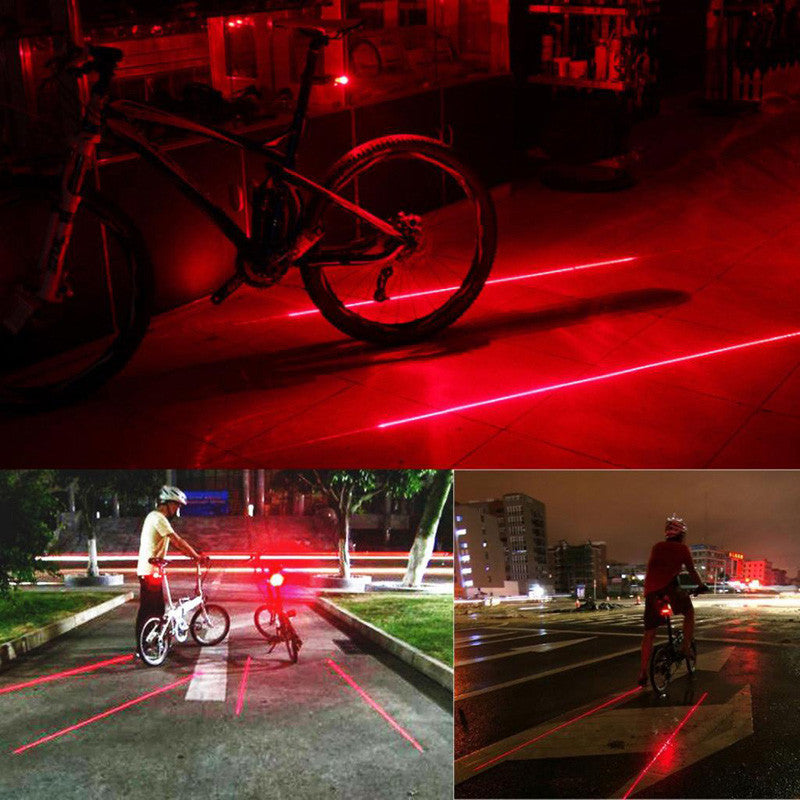 Waterproof 5 LED, 2 Laser Cycling Safety Tail Light