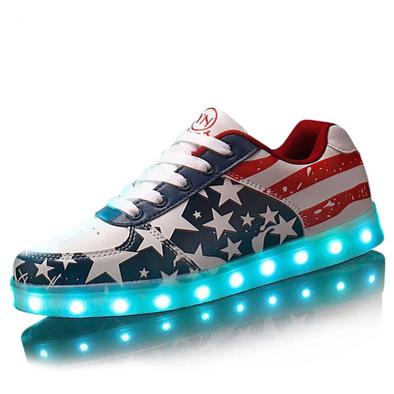 Tfsland  Women LED Light Up Shoes Glowing USB Charger LED Shoes American Flag Print Walking Shoes Soft Lumineuse Sneakers