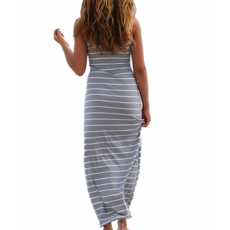Women Plus Size Maxi Long Dress Summer Style   Ladies Beach Vest Dress Striped Boho Long Sleeveless Casual Dress M0095