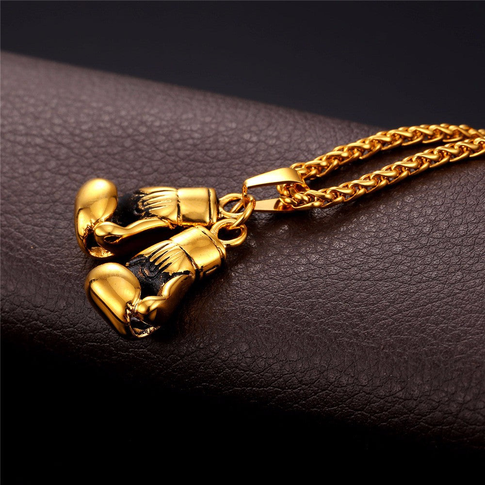 Boxing Glove Pendant Charm Necklace with Chaine