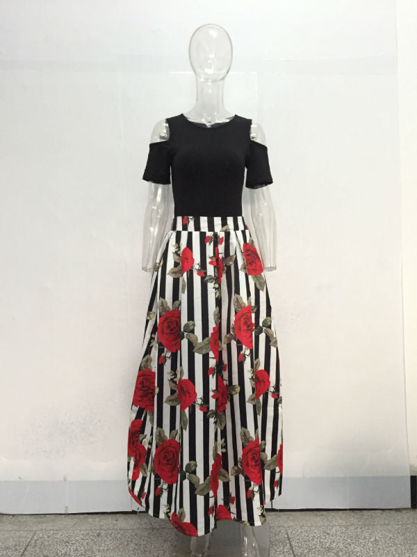 JRRY New Two Pieces Casual Women Maxi Dresses Short Sleeve Black Top Long Pattern Floral Dress Plus Size 6XL Vestidos