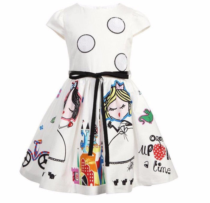 Girls Summer Dress Kids Clothes Brand Baby Girl Dress with Sashes Robe Fille Character Princess Dress Children Clothing