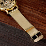 SOXY Luxury Skeleton Watches Men Watch Fashion Gold Watch Men Steel Mesh Men's Watch Clock saat relogio masculino reloj hombre