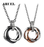 ARUEL Classic Couples Necklace Wedding Jewelry Stainless Steel Crystal Necklaces Pendants Women Men Lovers' Promise Bijoux Gifts