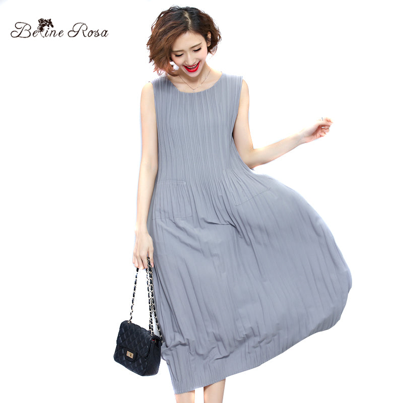 BelineRosa Women's Summer Dresses Pure Color Casual Women Draped Dress Sleeveless Plus Size Dresses for Women QY00001