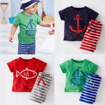 DT0233 Baby Boys Summer Clothing Set Boat Anchor Fish Striped Cotton Baby Boys Clothes Set T shirt Pant 2PCS Baby suits