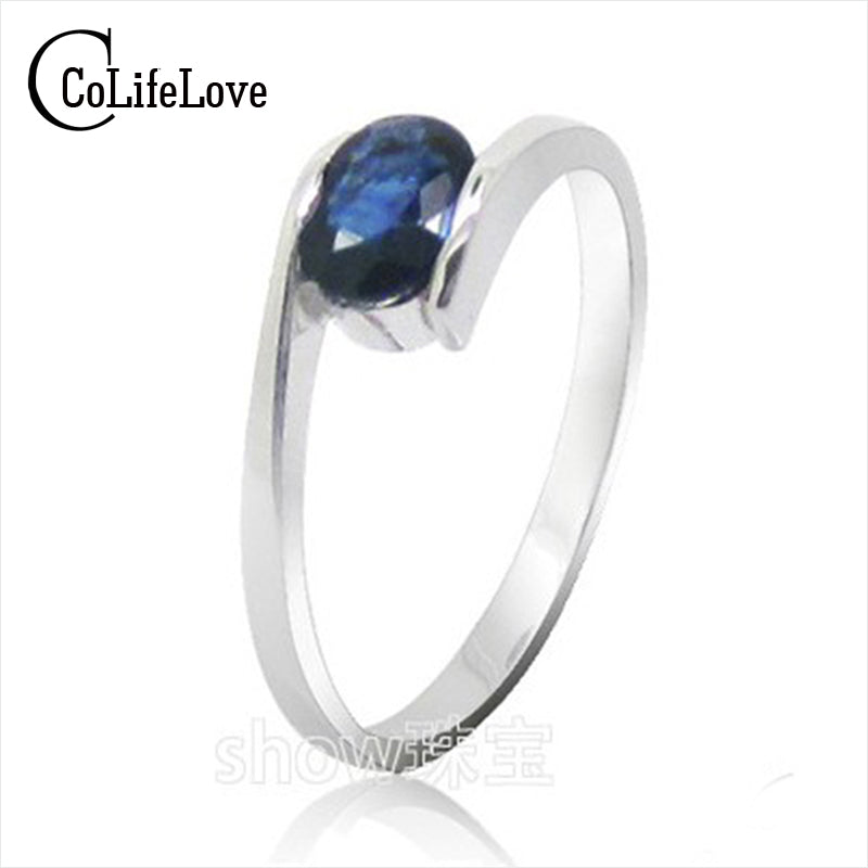 silver sapphire rings for women solid 925 silver sapphire ring  0.5 ct natural sapphire gemstone