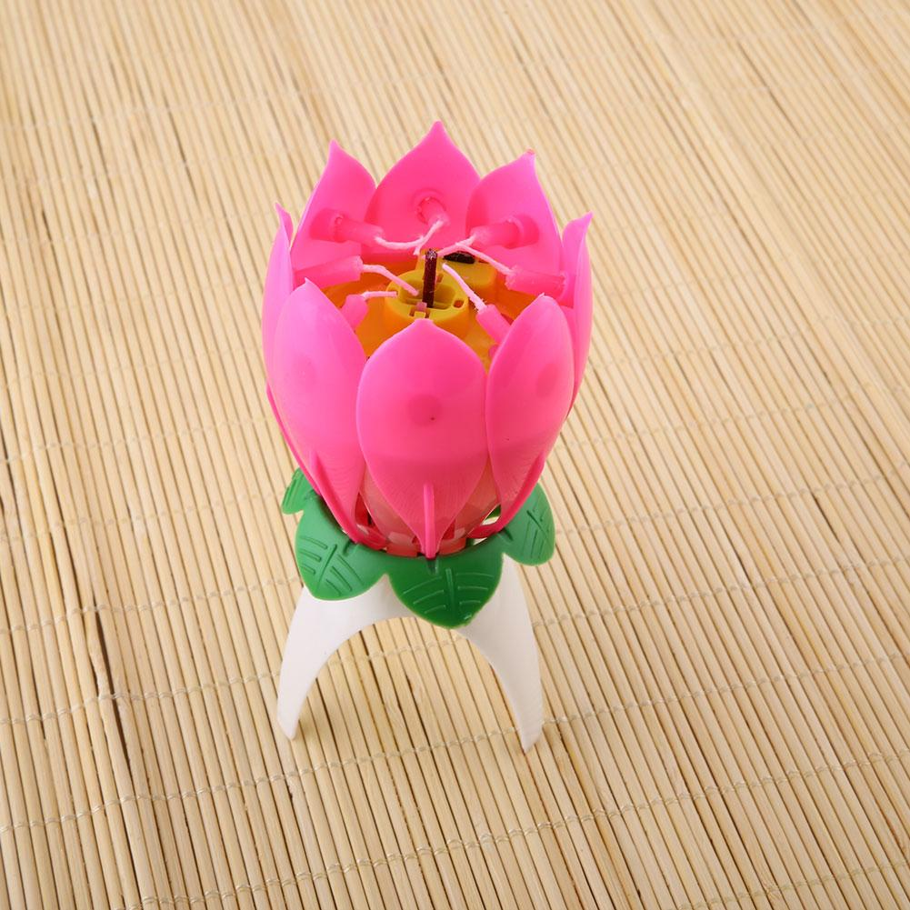 Romantic Musical Lotus Flower Happy Birthday Party Gift Music Candle