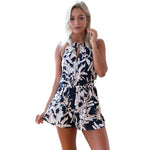 ELSVIOS Women Rompers   V Neck Spaghetti Strap Backless Loose Printing Jumpsuits Casual Summer Beach Playsuits Overalls