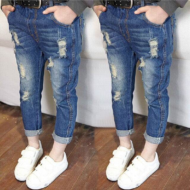 KW Brand 3-8T Girl Jeans Spring Hole jeans for girls kids ripped jeans fashion girls clothing jeans for teenagers