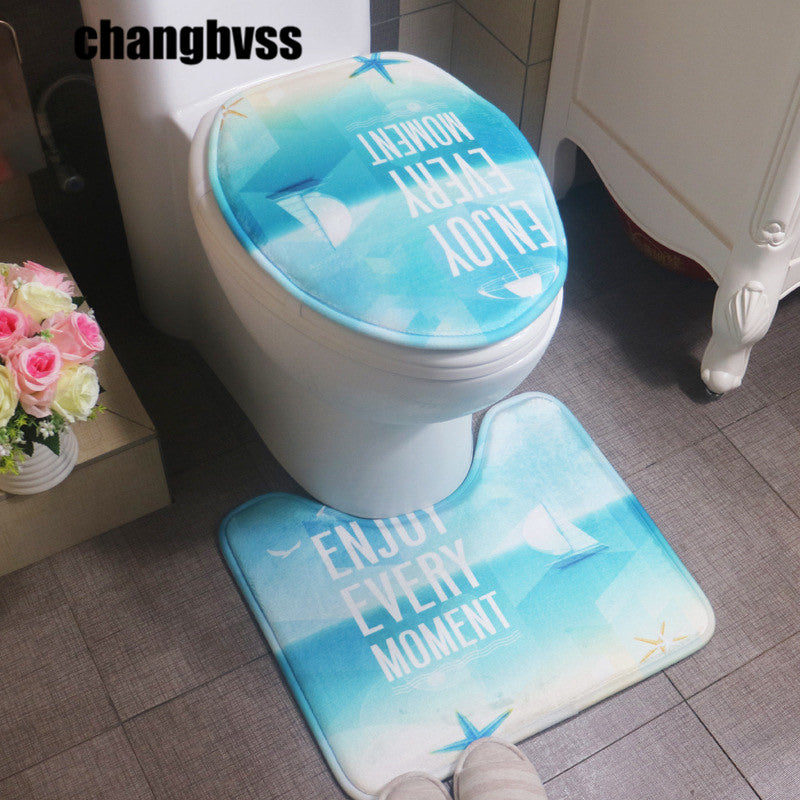 2pcs Simple Letter Pattern Bathroom Toilet Seat Cover Set