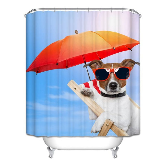 Decor Collection Row Of Hungry Dogs Cat Dog Wolf Panda Art Polyester Fabric Bathroom Shower Curtain Set With Hooks