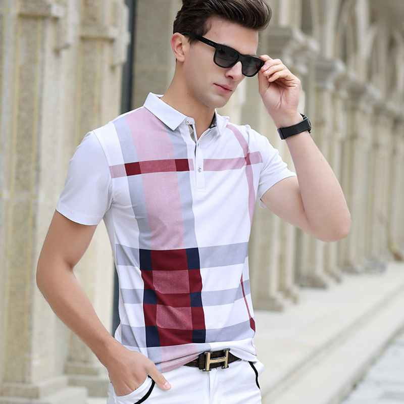 Men Polo Shirt New plaid Summer Fashion classic casual tops Short Sleeves Famous Brand Cotton Skull High quality