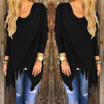 Black Women's Casual Loose Long Sleeve Irregular Hem Tassel Cardigan Poncho