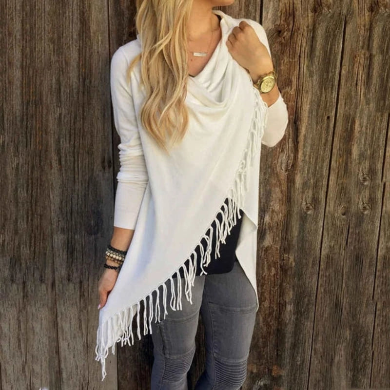 Front of White Women's Casual Loose Long Sleeve Irregular Hem Tassel Cardigan Poncho