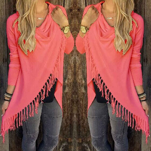 Watermelon Red Women's Casual Loose Long Sleeve Irregular Hem Tassel Cardigan Poncho