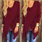 Wine Red Women's Casual Loose Long Sleeve Irregular Hem Tassel Cardigan Poncho