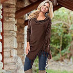 Brown Women's Casual Loose Long Sleeve Irregular Hem Tassel Cardigan Poncho